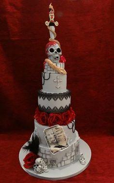 Top Nosh Cakes - Timeline Photos Cupcakes, Cupcake Cakes, Beautiful Cakes, Amazing Cakes, Gothic Birthday Cakes, Holloween Cake, Goth Cakes, Gothic Wedding Cake, Cool Cake Designs