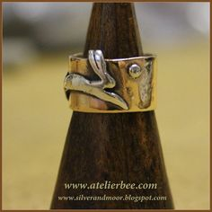 Silver Running Hare with moon on bronze Ring by AtelierBeeStudio
