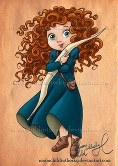 Disney Pixar Brave Fan Art: Little Merida Disney Pixar, Disney Amor, Disney Fan Art, Disney And Dreamworks, Disney Girls, Disney Magic, Disney Babies, Baby Disney Characters, Punk Disney