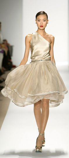 Dennis Basso #fashion #style...pretty bridesmaids and length would be good long mid or short