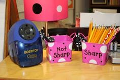 Always great to have a pencil sharpener in the classroom. This way allows you to keep track of pencils too, when they are sharp and when they are not sharp.