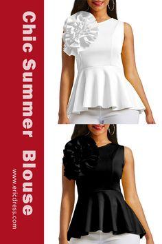 dbcffa73eae Ericdress Applique Peplum Zipper Up Sleeveless Women s Top