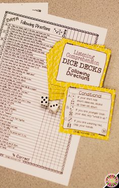 Looking for ideas to increase engagement with your students? DICE DECKS interactive task cards teach specific skills while keeping their attention! Great for individual, small group (speech therapy, RTI, etc.), or even whole-class learning. Click to view this Following Directions Listening Comprehension set!