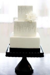 Simple cake with a black cake stand