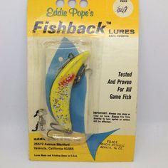 Vintage Eddie Pope's Fishback Lures FB401 Yellow Metallic Fishing Lure in Pack 1 #EddiePope