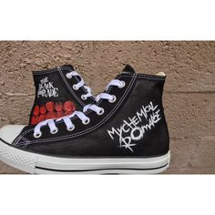 MCR Inspired Shoes. My Chemical Romance Shoes. The Black Parade ($139) ❤ liked on Polyvore featuring shoes, lullabies, lucite shoes, black high top shoes, black shoes, waterproof footwear and black hi tops