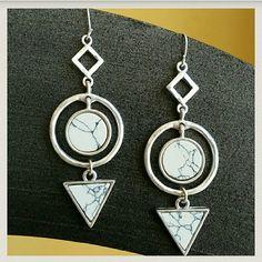 "Geometric Howlite Stone Earrings Matt silver with Howlite marble stones.  .8""W X 2.5"" L Price firm unless bundled. Farah Jewelry Jewelry Earrings"