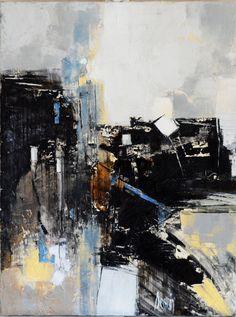 """Dessein • """"Black structure"""" • Peinture à l'huile sur toile • KAZoART #art #artcontemporain #oeuvre #galeriedart #abstrait #peinture #ligne"""