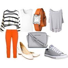 Подборка к оранжевым джинсам.