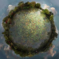 Floating Worlds by Catherine Nelson Catherine Nelson is a visual artist who uses the digital medium to paint images together into personal and imaginary landscapes.Drawing upon hundreds of nature photographs, Nelson digitally stitches together each element in a process that takes months to complete.