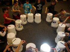 Kodaly and Orff Music Teacher's blog this is one way I think it's inexpensive to incorporate drumming into the class