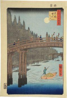 Utagawa Hiroshige (1797-1858): One Hundred Famous Views of Edo: Bamboo Bank, Kyobashi, woodblock print, 1856.
