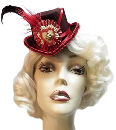 Victorian Valentine Mini Steampunk Lolita Tea Party Fascinator Top Hat.