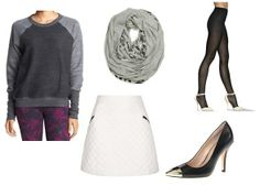 "From the Yoga Studio to Date Night  And once you've scored that coveted second date, go with Sadie's follow-up outfit idea: ""Hosiery, skirt and scarf."" (And those lucky cap-toe stilettos, of course.) Why mess with a good thing? Keep the sweatshirt, but switch out your yoga pants for a futuristic white A-line skirt and a pair of Hanes Sheer Bliss Luxe Sheer Hose. Then bring it all together with a zen-themed infinity scarf. Ommm..."