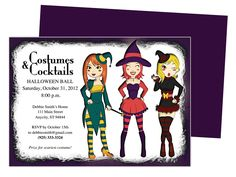 costumes halloween party invitation template