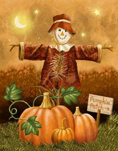 Harvest Time by Thomas Wood (so lovely!). #scarecrow #fall #Halloween #pumpkins