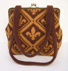 Felted Knit Purse in Fleur de Lis pattern