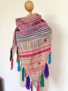 Hmong Handmade Vintage Fabric Indigo Boho Batik Shawl by BohoBatik