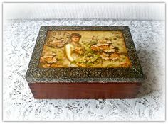 Wooden decoupage box jewelry box  tea box by CarmenHandCrafts