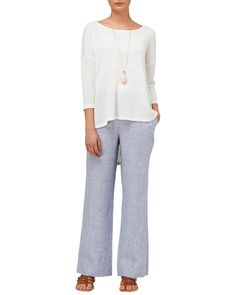 New In: Clothing   Blue Allie Wide Leg Linen Trousers   Phase Eight