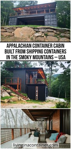 "A great Airbnb house to relax with its magnificent and unique scenery. ""Appalachian Container Cabin"" is built from shipping containers.  #shippingcontainerhomes #containerhomes #storagecontainerhomes #containerhouse #shippingcontainerhouse #shippingcontainercabin #containerhousedesign #containerhouseplans #containerhousedesigninterior #containerhomefloorplans Shipping Container Interior, Shipping Container Home Builders, Shipping Containers, Container Cabin, Container House Design, Tiny House Design, Airbnb House, Earthship Home, Cottage Floor Plans"