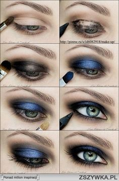 smokey eyes black and blue Blue Eye Makeup, Smokey Eye Makeup, Love Makeup, Skin Makeup, Makeup Tips, Makeup Tutorials, Makeup Ideas, Smokey Eyeshadow, Amazing Makeup