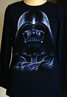 Hand painted t shirt. Darth Vader - inspired, long sleeved t-shirt. I use non-toxic, water based, permanent fabric colors for my paintings. 100% organic cotton fabric.