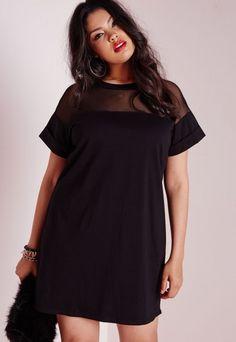 Plus Size Mesh Panel T-Shirt Dress