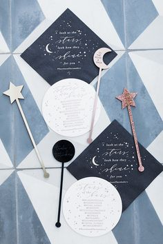 celestial themed tassels and tastemakers party. Your Something Blue Wedding Inspiration for your Wedding Day Starry Night Wedding, Moon Wedding, Celestial Wedding, Star Wedding, Dream Wedding, Blue Wedding, Star Wars Party, Star Party, Wedding Decor