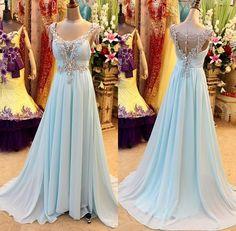 Pretty Light Blue Long Prom Dress With Beadings, Sexy Prom Dresses, Prom Dresses 2015, Formal Gown, Evening Dresses