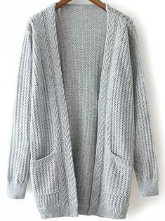 Romwe Open-Knit Pockets Grey Cardigan