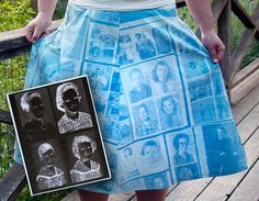 How to turn your photos into a dress, pillow cases, etc. Fun! I'd love to try this for a throw cushion with a collection of pics of my grandparents.