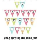 """Welcome your students back to school in style with this chevron and polka dot welcome pennant banner.  This PDF file includes the words """"WELCOME,..."""