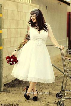 V-neck Tea Length Custom Plus Size Wedding Dress