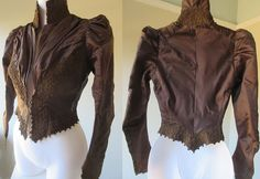 Just feast your eyes on thegorgeous wide trim with dashed of metallic. The beautiful puffed mutton sleeves come to a point on the hand and are also tried with the wide trimming. This exquisite silk bodice blouse from the late 1800's is in excellent condition except for a few missing hook and eye closures. | eBay!