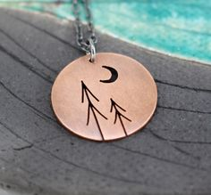 Beautiful Jewelry Diamonds Autumn Eve Pines with Crescent Moon Tree Art round copper pendant. Beautiful Jewelry Diamonds Autumn Eve Pines with Crescent Moon Tree Art round copper pendant Back Jewelry, Moon Jewelry, Jewelry Tree, Metal Jewelry, Jewelry Gifts, Bling Jewelry, Jewelry Accessories, Jewelry Necklaces, Etsy Earrings