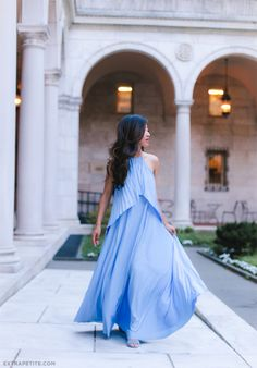 Pleated periwinkle maxi dress