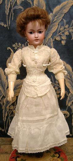 """Demure & Darling 19"""" Simon & Halbig 1159 Antique Lady Doll in Her All Antique Costume!"""