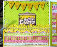 Les Folies de Coco - An humorous spring card opening onto Ice-Creams!