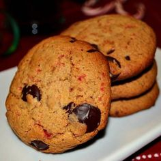Chocolate Chip Candy Cane Cookies  vegan, plantbased, earth balance, made just right