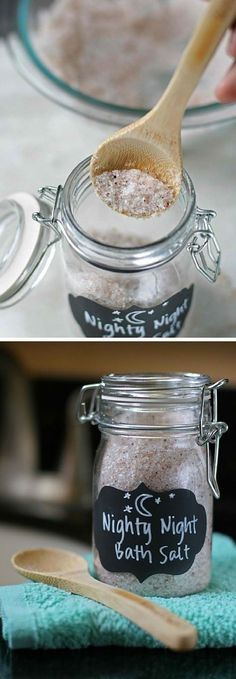 Night Night Bath Salts | 17 DIY Bath Salts | Learn How To Make The Most Relaxing Bath Salt Recipes by DIY Ready at  http://diyready.com/17-diy-bath-salts-bath-salt-recipe/