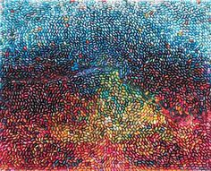 Ilhwa Kim hand-dyes, cuts, and rolls thousands of sheets of paper to form colorful gradient images