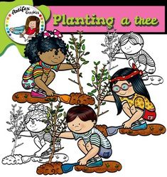 Planting a tree clip art set features 6 items: ► 3 graphics in color. ► 3 graphics in black & white. All images are 300 dpi, Png files. This clipart license allows for personal, educational, and commercial small business use. If using commercially, or Jesus Calms The Storm, Heart Clip Art, Fall Clip Art, Girls Clips, Teacher Tools, Art File, Art Images, Digital Scrapbooking, Planting