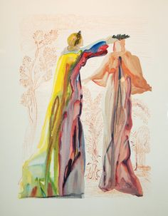 "Salvador Dali Illustration. ""The Divine Comedy"" by Dante Alighieri The last words of Virgil"