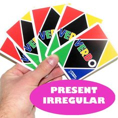 VERBO  ™ is our version of one of the world's most popular card games! A Michigan Spanish teacher's creation,   VERBO  ™ reinforces verb forms and helps students recognize different conjugations! The game plays just like  UNO ™  . All the rules remain the same except that players change suit by laying down a card of the same verb or verb form instead of using colors and numbers. Just don't forget to shout   ¡VERBO!   when you have one card left! 72 cards. Laminated. Three to six player...
