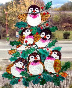 wicoart window color sticker static cling noel christmas oiseaux et houx - Windows Color Noel