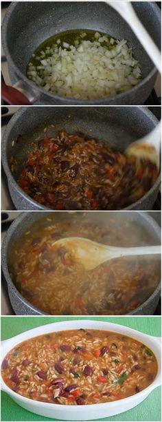 ARROZ DE FEIJÃO, RECEITA DELICIOSA PARA ESSE INVERNO…HUMMM VEJA AQUI>>>Num tacho, leve ao lume 3 colheres de sopa de azeite, a cebola, o alho, o pimento e o louro. Mexa e deixe refogar até começar a alourar. #CALDOQUENTE#SOPAS#ARROZDEFEIJAO# Chili, Chicken, Food, Rice Recipes, Incredible Recipes, Spoons, Soups, Meal, Chile