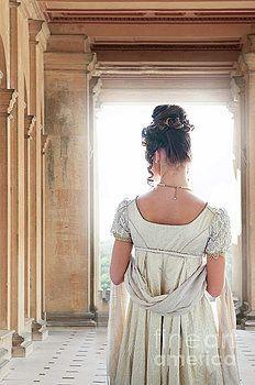 Regency Woman Under A Colonnade by Lee Avison