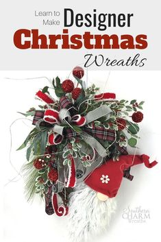 Learn how to make designer Christmas wreath for your front door and save money. We& teaching you everything from wreaths, garlands, swags, arrangements and trees! Join in our wreath making community! Christmas Wreaths, Christmas Crafts, Christmas Decorations, Holiday Decor, Winter Wreaths, Christmas Centerpieces, Merry Christmas, Christmas Truck, Woodland Christmas