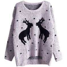 Womens Crewneck Two Reindeers Patterned Ugly Christmas Sweater Gray found on Polyvore featuring tops, sweaters, grey, grey sweater, christmas tops, crewneck sweater, gray top and pattern sweater